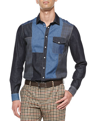 Denim Patchwork Sport Shirt, Blue