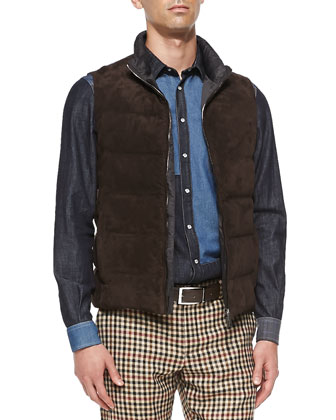 Suede & Paisley-Nylon Puffer Vest, Brown