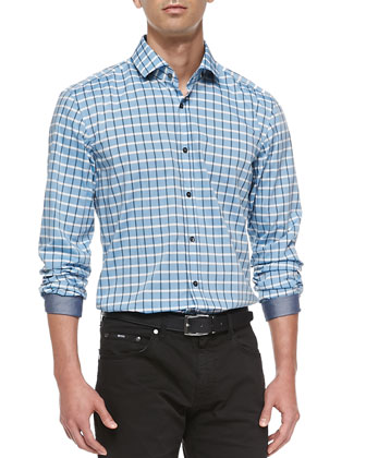 Windowpane-Check Sport Shirt, Blue
