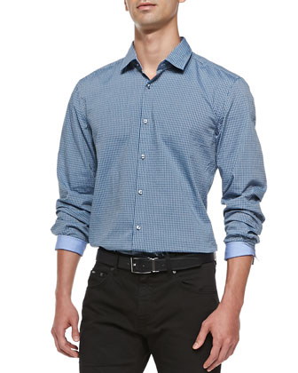 Micro-Check Sport Shirt, Blue