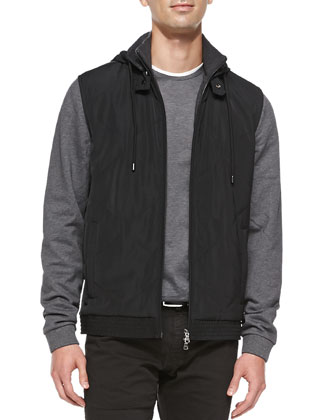 Boss Hugo Boss Hooded Quilted-Front Jacket, Mercerized Cotton Long-Sleeve ...