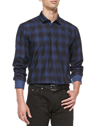Shaded Check Sport Shirt & Comfort Fit 5-Pocket Jeans