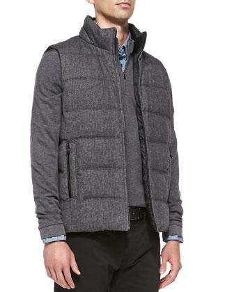 Reversible Puffer Vest, Micro-Stripe Double-Face Pullover, Micro-Check ...