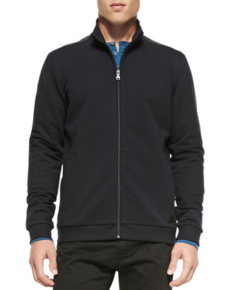 French-Terry Full-Zip Sweatshirt, Navy