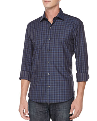 Button-Down Plaid Shirt, Navy
