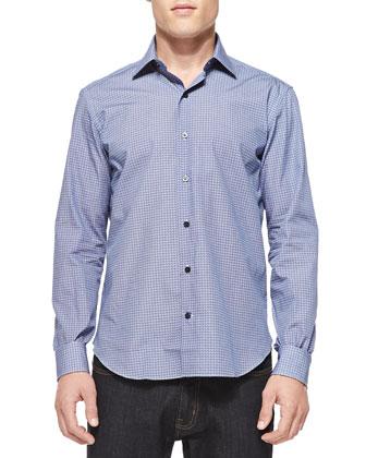 Small-Arcade-Print Woven Shirt, Navy