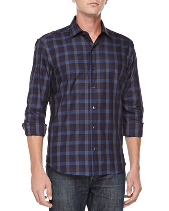 Soph Buffalo Button-Down Plaid Shirt, Navy