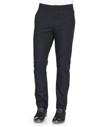 Cotton Slim-Fit Chinos, Navy