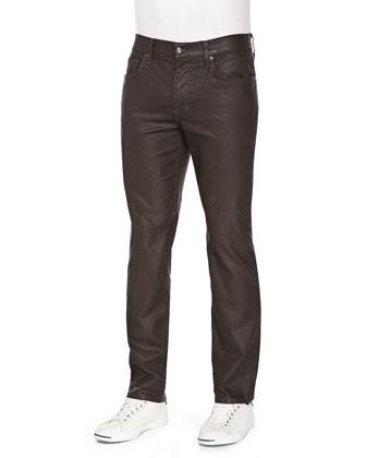 Brixton Harley Coated Jeans, Dark Brown