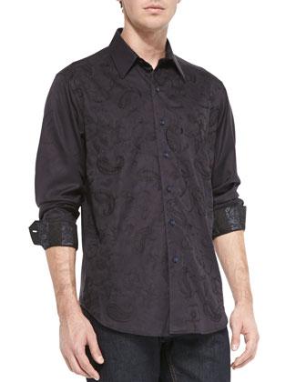 Westport Tonal-Paisley Embroidered Shirt, Black