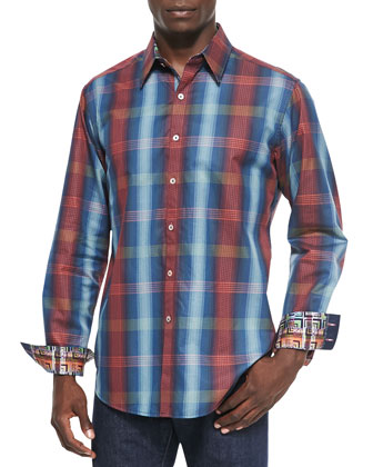 Roxy Plaid Sport Shirt, Navy