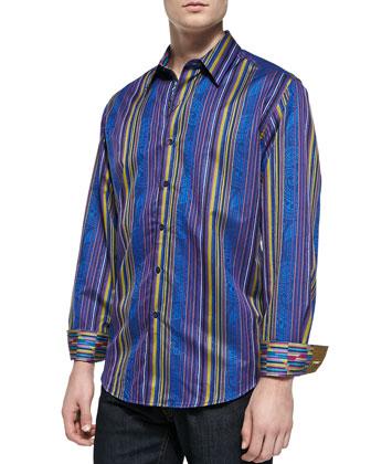 Xenon Paisley/Stripe Sport Shirt, Multi