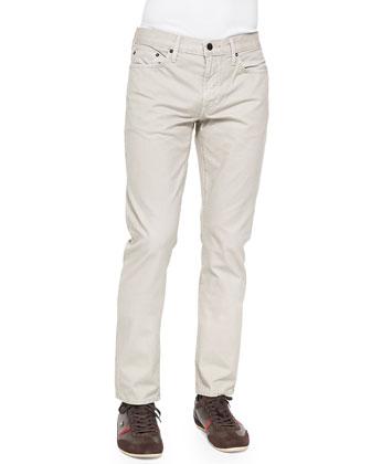Slim Straight-Leg Five-Pocket Jeans, Beige