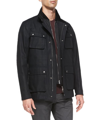 3-in-1 Plaid Field Jacket, Navy