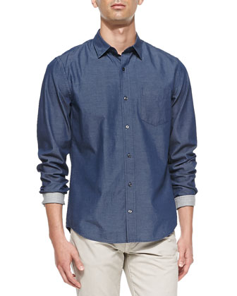 Denim Button-Down Shirt, Blue