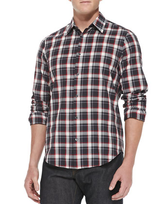 Plaid Woven Shirt, Dark Gray