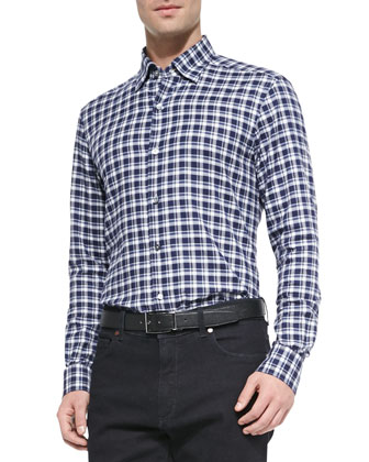 Twill Box-Check Dress Shirt, Navy