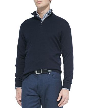 Cashmere-Blend Quarter-Zip Pullover, Navy