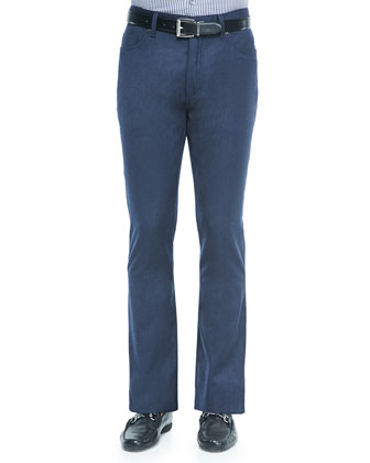 Wool Flannel 5-Pocket Pants, Blue