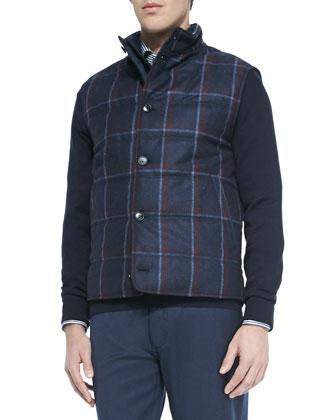 Cashmere-Blend Quarter-Zip Pullover, Clean Striped Long-Sleeve Shirt & Wool ...