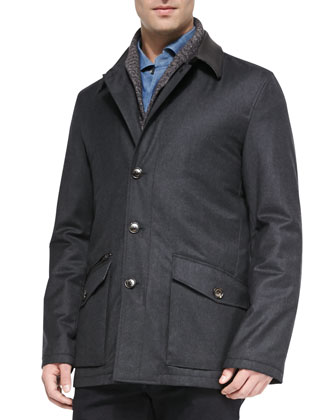 Wool-Cashmere-Silk Field Jacket, Shawl-Collar Cardigan, Woven Denim Shirt & ...
