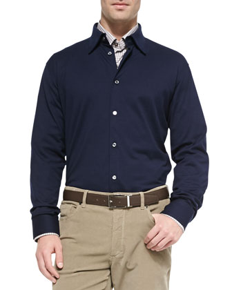 Long-Sleeve Polo Shirt, Navy