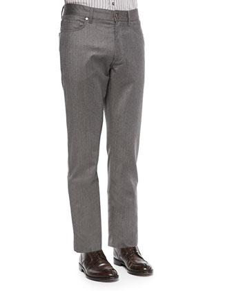 Five-Pocket Wool Flannel Pants, Mushroom