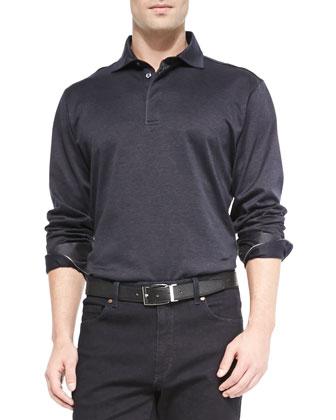 Woven Herringbone Long-Sleeve Polo, Navy