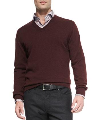 Cashmere V-Neck Sweater, Merlot