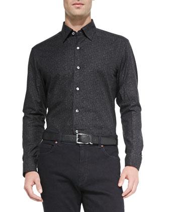 Floral-Print Woven Sport Shirt, Charcoal