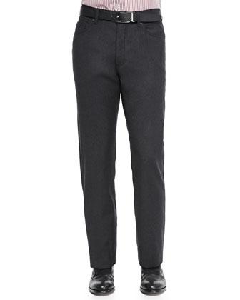 Five-Pocket Wool Flannel Pants, Charcoal