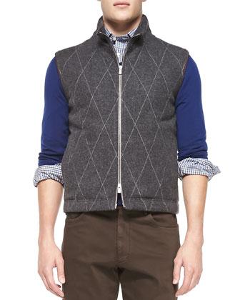 Quilted Zip-Front Vest, Charcoal