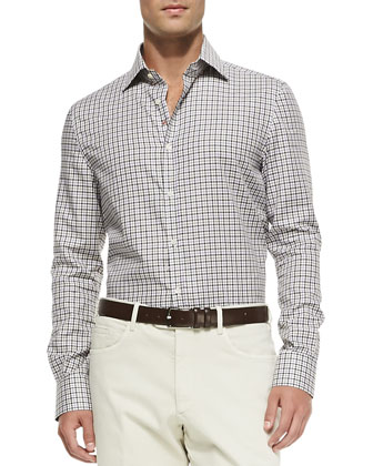 Tattersall-Check Button-Down Shirt, Green