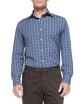 Cotton-Flannel Windowpane Shirt