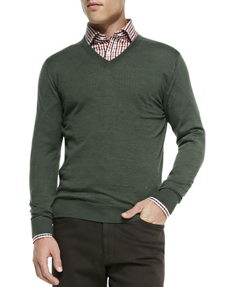 Merino Wool V-Neck Sweater, Multi-Gingham Button-Down Shirt & Five-Pocket ...