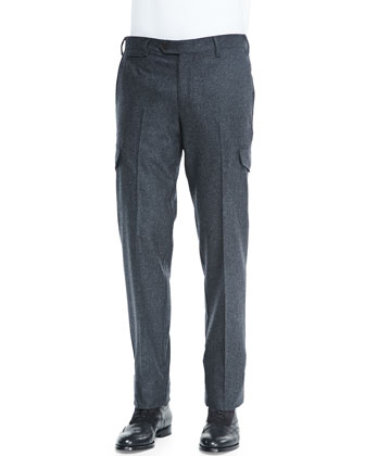 Flannel Military Trousers, Charcoal