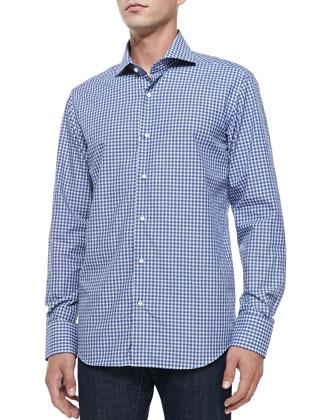 Button-Down Grid-Check Shirt, White/Blue/Navy