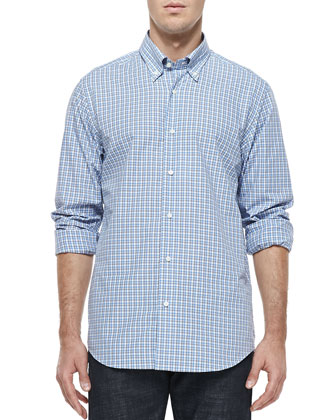 Button-Down Check Shirt, White/Blue/Gray