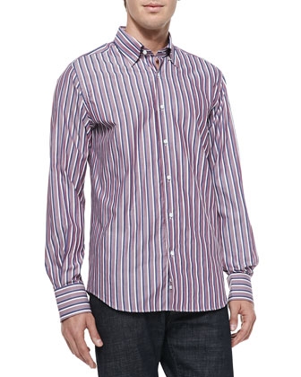 Button-Down Striped Shirt, Cranberry/Navy/White