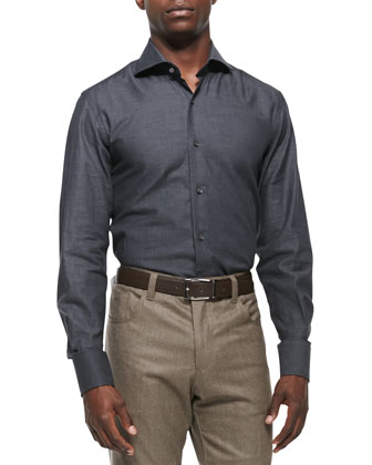 Solid Woven Dress Shirt, Charcoal