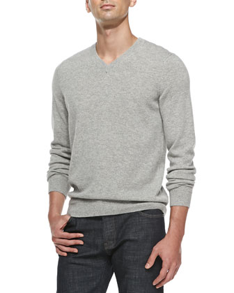 Wool-Blend V-Neck Sweater, Dark Gray