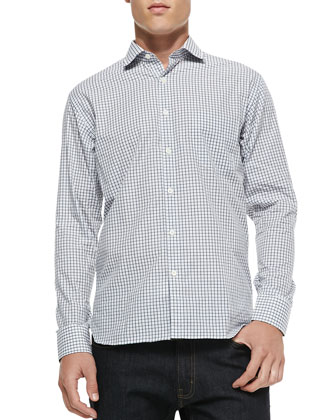 Mini-Check Cotton Button-Down Shirt, Blue