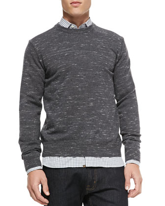 Melange Merino Crewneck Sweater & Mini-Check Cotton Button-Down Shirt