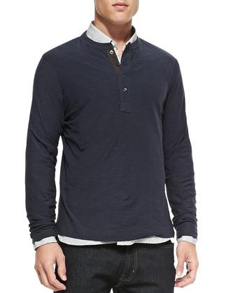 Pensacola Long-Sleeve Henley Shirt, Navy