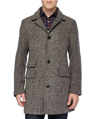 Tweed Astor Car Coat, Gray