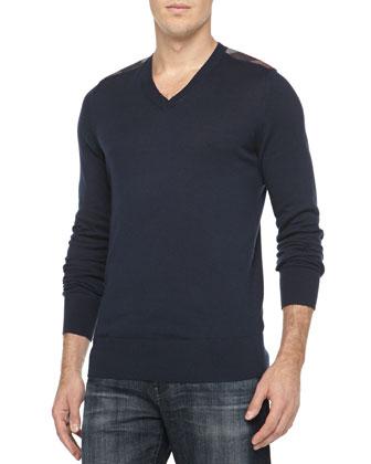 Cotton/Cashmere V-Neck Sweater, Navy
