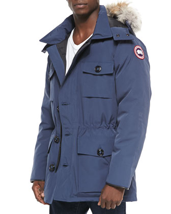 Banff Parka with Fur-Trim Hood, Blue