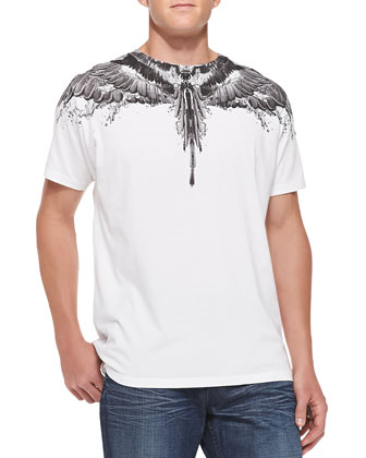 Feather and Water-Print Tee, White