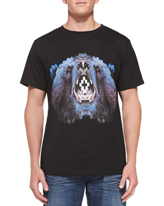 Bear-Head-Print Tee, Black