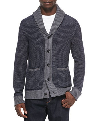 Asher Ribbed Shawl Cardigan, Navy